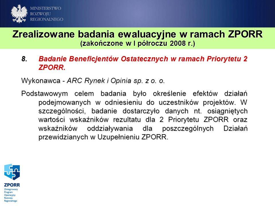 Zrealizowane badania ewaluacyjne w ramach ZPORR (zakończone w I półroczu 2008 r.) 8.Badanie Beneficjentów Ostatecznych w ramach Priorytetu 2 ZPORR. Wy