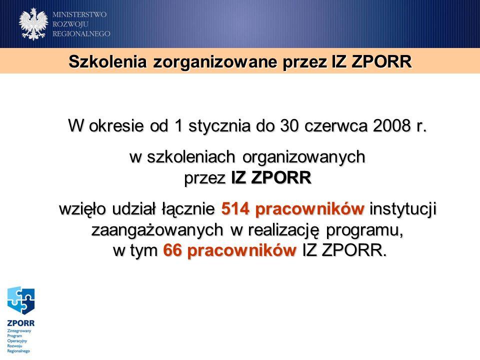 Szkolenia zorganizowane przez IZ ZPORR W okresie od 1 stycznia do 30 czerwca 2008 r. w szkoleniach organizowanych przez IZ ZPORR wzięło udział łącznie