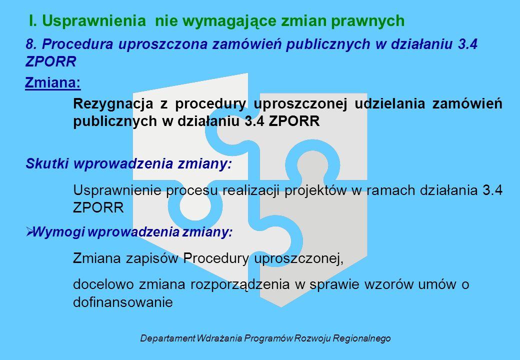 I. Usprawnienia nie wymagające zmian prawnych 8. Procedura uproszczona zamówień publicznych w działaniu 3.4 ZPORR Zmiana: Rezygnacja z procedury upros