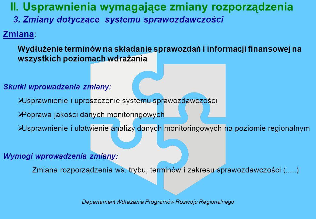 II. Usprawnienia wymagające zmiany rozporządzenia 3. Zmiany dotyczące systemu sprawozdawczości Zmiana: Wydłużenie terminów na składanie sprawozdań i i