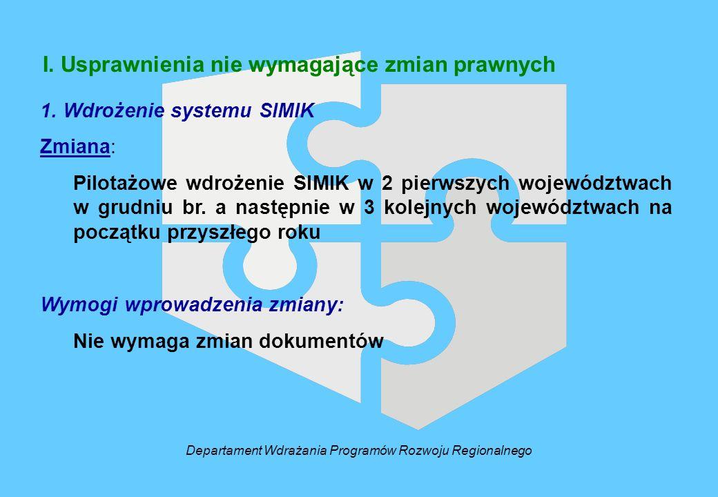 I. Usprawnienia nie wymagające zmian prawnych Departament Wdrażania Programów Rozwoju Regionalnego 1. Wdrożenie systemu SIMIK Zmiana: Pilotażowe wdroż