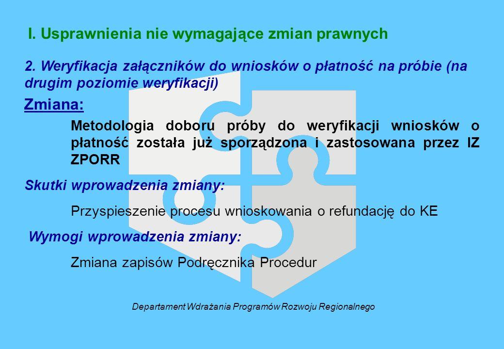 I. Usprawnienia nie wymagające zmian prawnych 2. Weryfikacja załączników do wniosków o płatność na próbie (na drugim poziomie weryfikacji) Zmiana: Met