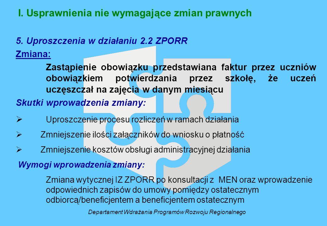 I. Usprawnienia nie wymagające zmian prawnych 5. Uproszczenia w działaniu 2.2 ZPORR Zmiana: Zastąpienie obowiązku przedstawiana faktur przez uczniów o