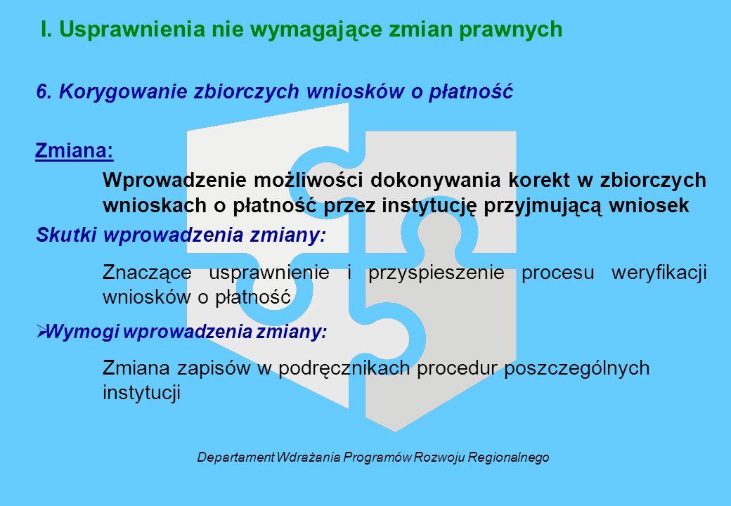 I. Usprawnienia nie wymagające zmian prawnych 6. Korygowanie zbiorczych wniosków o płatność Zmiana: Wprowadzenie możliwości dokonywania korekt w zbior