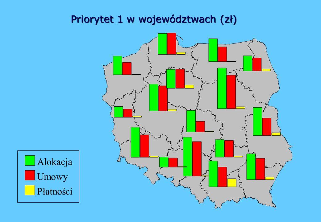 Priorytet 1 w województwach (zł) Umowy Płatności Alokacja