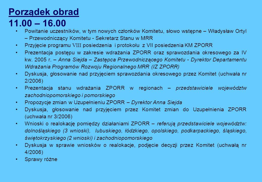 Porządek obrad 11.00 – 16.00 Powitanie uczestników, w tym nowych członków Komitetu, słowo wstępne – Władysław Ortyl – Przewodniczący Komitetu - Sekretarz Stanu w MRR Przyjęcie programu VIII posiedzenia i protokołu z VII posiedzenia KM ZPORR Prezentacja postępu w zakresie wdrażania ZPORR oraz sprawozdania okresowego za IV kw.