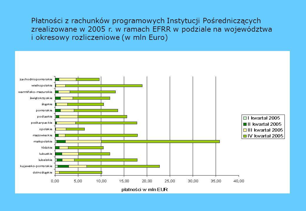 Płatności z rachunków programowych Instytucji Pośredniczących zrealizowane w 2005 r.