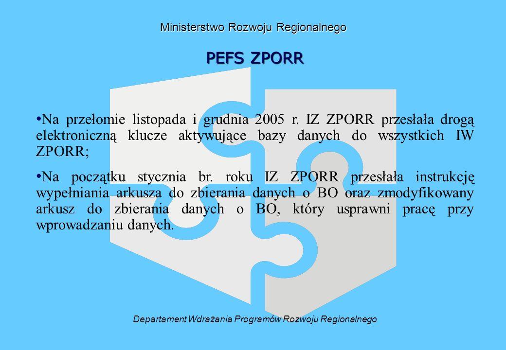 Ministerstwo Rozwoju Regionalnego PEFS ZPORR Na przełomie listopada i grudnia 2005 r.