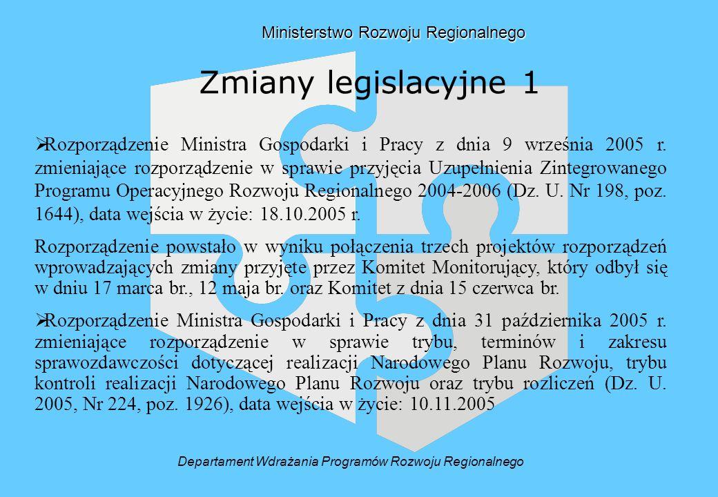 Ministerstwo Rozwoju Regionalnego Ministerstwo Rozwoju Regionalnego Zmiany legislacyjne 1 Rozporządzenie Ministra Gospodarki i Pracy z dnia 9 września 2005 r.