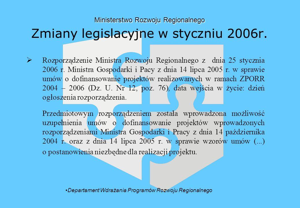 Ministerstwo Rozwoju Regionalnego Ministerstwo Rozwoju Regionalnego Zmiany legislacyjne w styczniu 2006r.