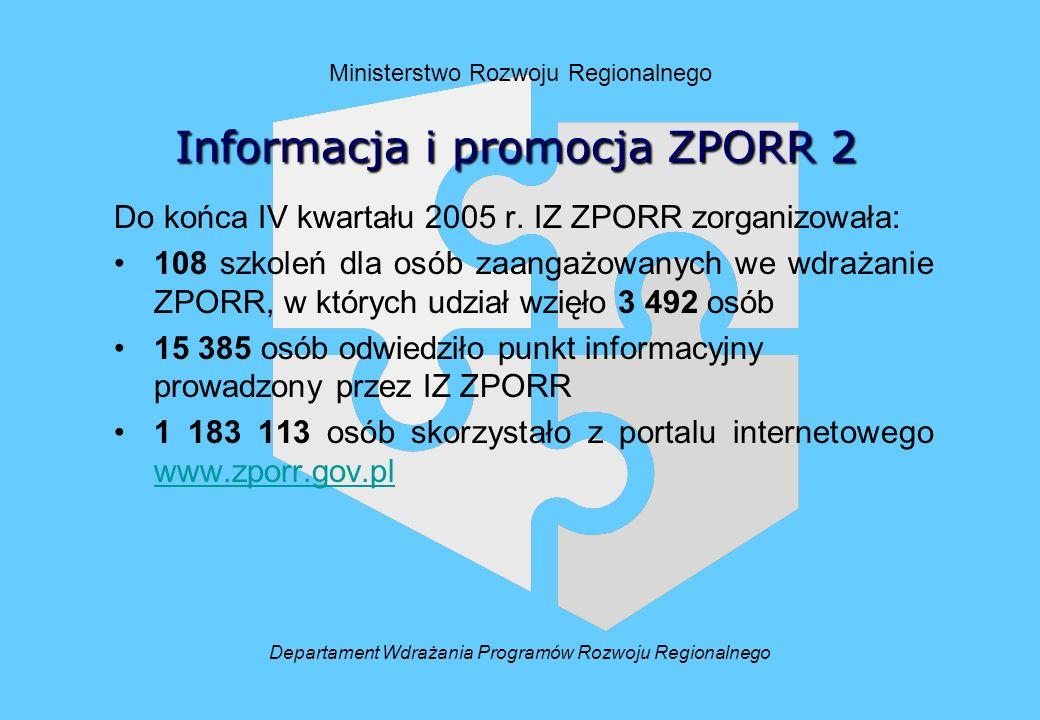 Ministerstwo Rozwoju Regionalnego Do końca IV kwartału 2005 r.