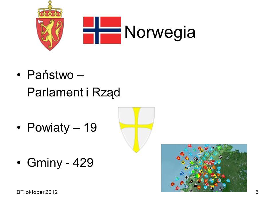 BT, oktober 20125 Norwegia Państwo – Parlament i Rząd Powiaty – 19 Gminy - 429