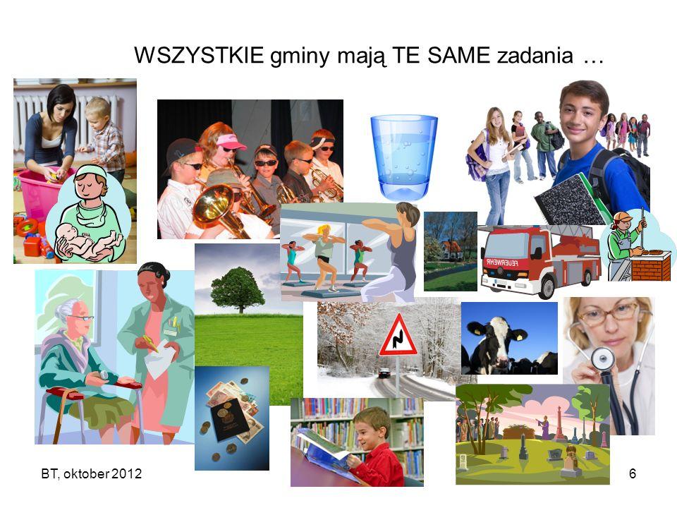 BT, oktober 20126 WSZYSTKIE gminy mają TE SAME zadania …