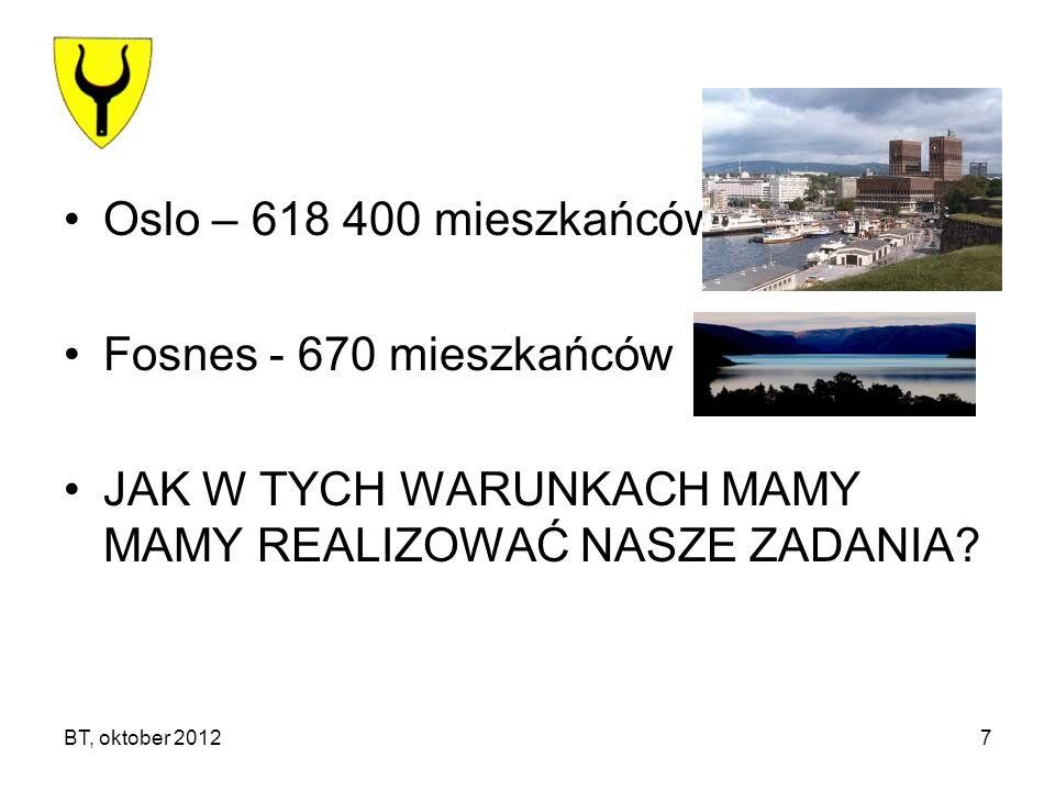 BT, oktober 20127 Oslo – 618 400 mieszkańców Fosnes - 670 mieszkańców JAK W TYCH WARUNKACH MAMY MAMY REALIZOWAĆ NASZE ZADANIA?