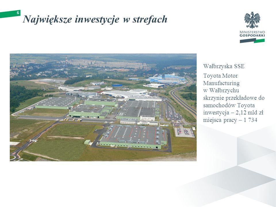 6 Największe inwestycje w strefach Wałbrzyska SSE Toyota Motor Manufacturing w Wałbrzychu skrzynie przekładowe do samochodów Toyota inwestycja – 2,12