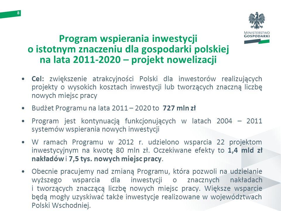 8 Program wspierania inwestycji o istotnym znaczeniu dla gospodarki polskiej na lata 2011-2020 – projekt nowelizacji Cel: zwiększenie atrakcyjności Po