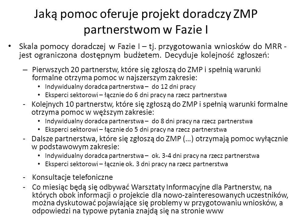 Jaką pomoc oferuje projekt doradczy ZMP partnerstwom w Fazie I Skala pomocy doradczej w Fazie I – tj.