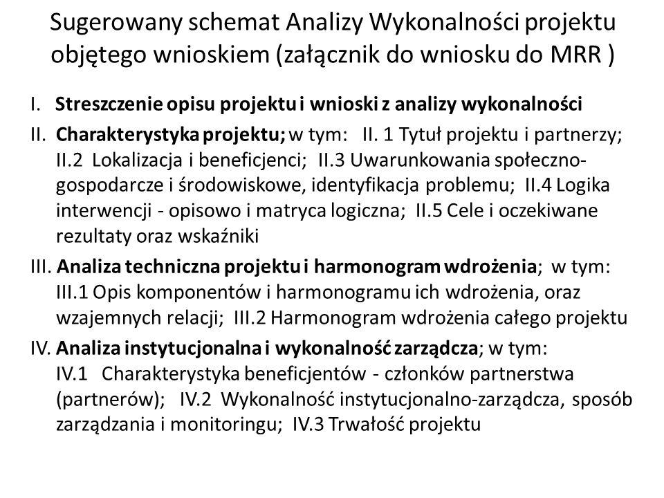 Sugerowany schemat Analizy Wykonalności projektu objętego wnioskiem (załącznik do wniosku do MRR ) I.