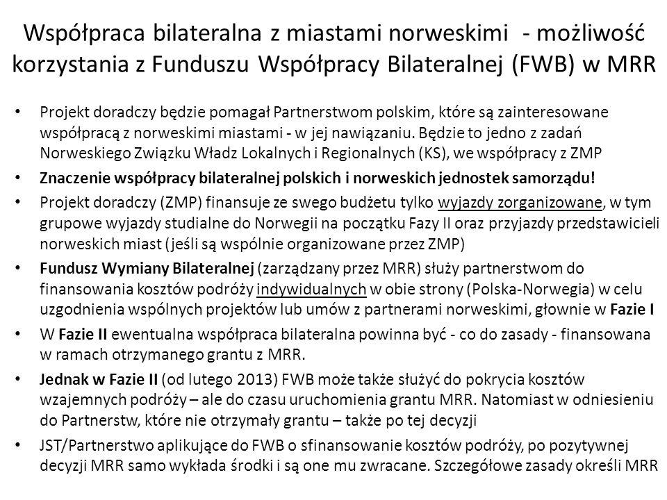 Współpraca bilateralna z miastami norweskimi - możliwość korzystania z Funduszu Współpracy Bilateralnej (FWB) w MRR Projekt doradczy będzie pomagał Partnerstwom polskim, które są zainteresowane współpracą z norweskimi miastami - w jej nawiązaniu.