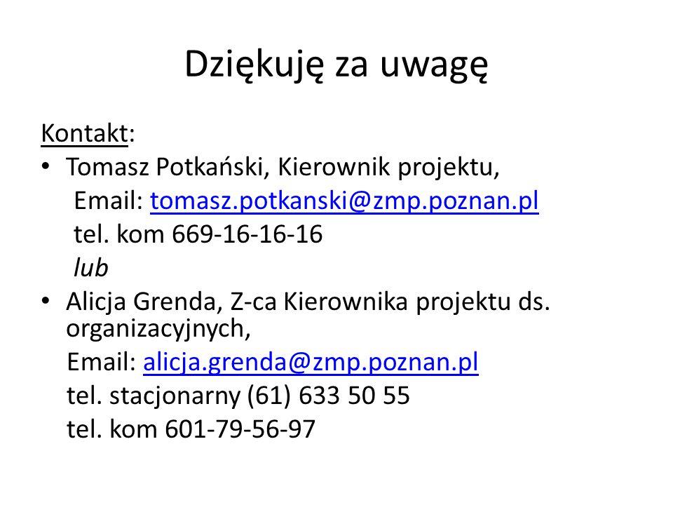 Dziękuję za uwagę Kontakt: Tomasz Potkański, Kierownik projektu, Email: tomasz.potkanski@zmp.poznan.pltomasz.potkanski@zmp.poznan.pl tel.