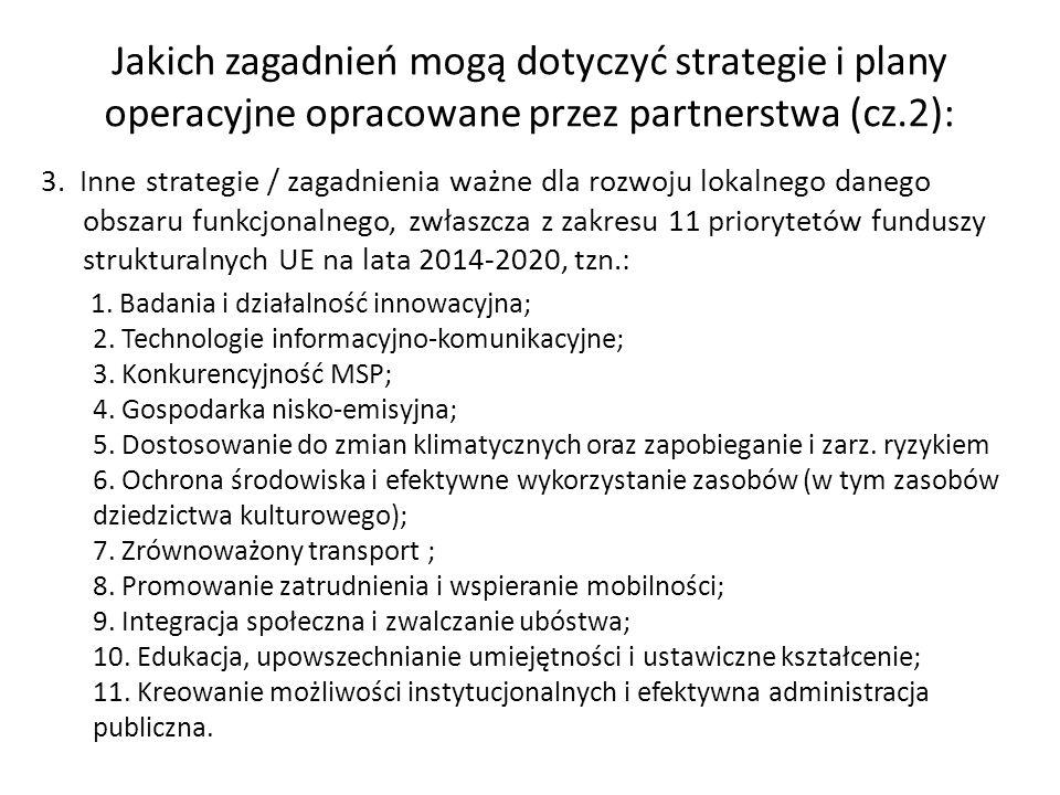 3. Inne strategie / zagadnienia ważne dla rozwoju lokalnego danego obszaru funkcjonalnego, zwłaszcza z zakresu 11 priorytetów funduszy strukturalnych