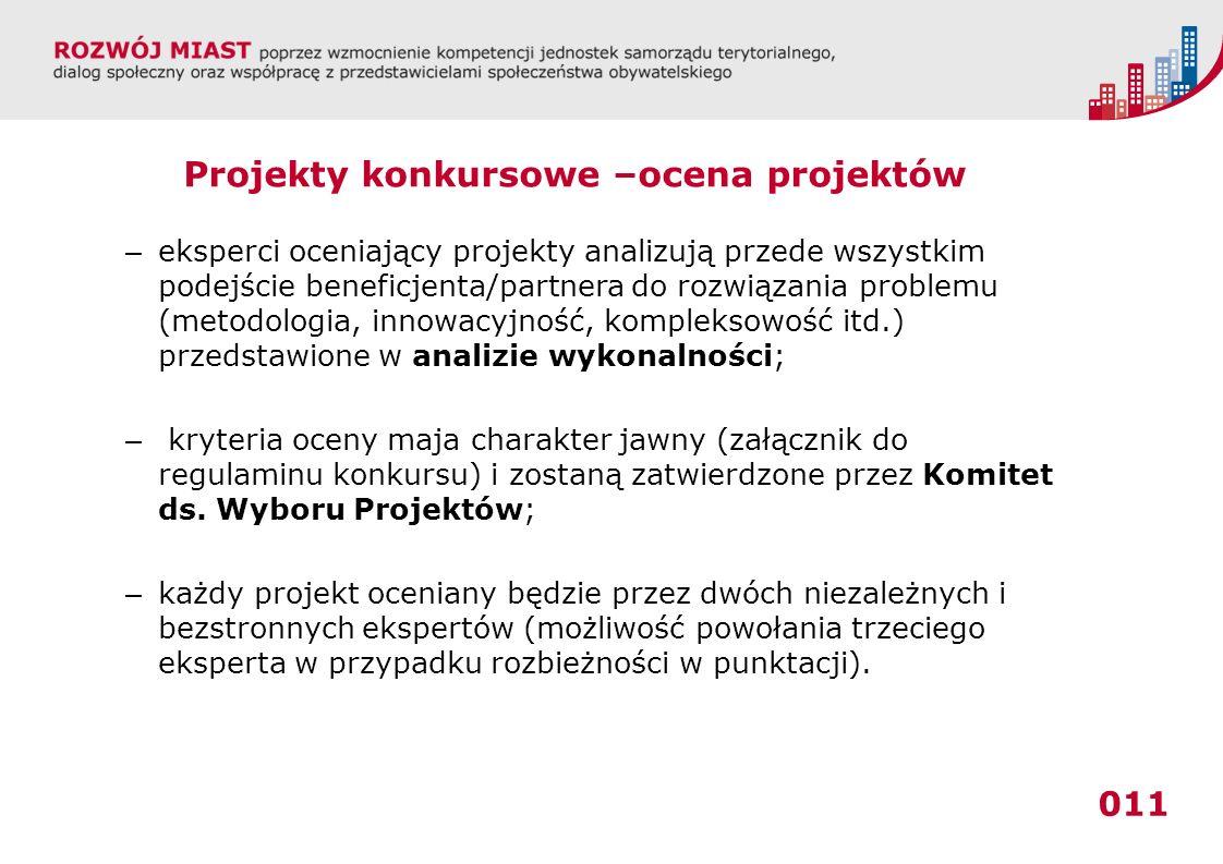 011 Projekty konkursowe –ocena projektów – eksperci oceniający projekty analizują przede wszystkim podejście beneficjenta/partnera do rozwiązania prob