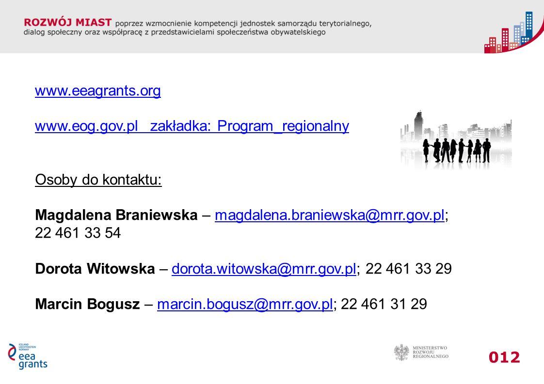 012 www.eeagrants.org www.eog.gov.pl zakładka: Program_regionalny Osoby do kontaktu: Magdalena Braniewska – magdalena.braniewska@mrr.gov.pl;magdalena.braniewska@mrr.gov.pl 22 461 33 54 Dorota Witowska – dorota.witowska@mrr.gov.pl; 22 461 33 29dorota.witowska@mrr.gov.pl Marcin Bogusz – marcin.bogusz@mrr.gov.pl; 22 461 31 29marcin.bogusz@mrr.gov.pl