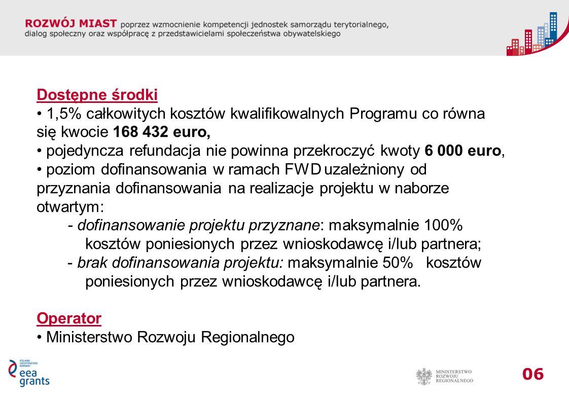 06 Dostępne środki 1,5% całkowitych kosztów kwalifikowalnych Programu co równa się kwocie 168 432 euro, pojedyncza refundacja nie powinna przekroczyć kwoty 6 000 euro, poziom dofinansowania w ramach FWD uzależniony od przyznania dofinansowania na realizacje projektu w naborze otwartym: - dofinansowanie projektu przyznane: maksymalnie 100% kosztów poniesionych przez wnioskodawcę i/lub partnera; - brak dofinansowania projektu: maksymalnie 50% kosztów poniesionych przez wnioskodawcę i/lub partnera.