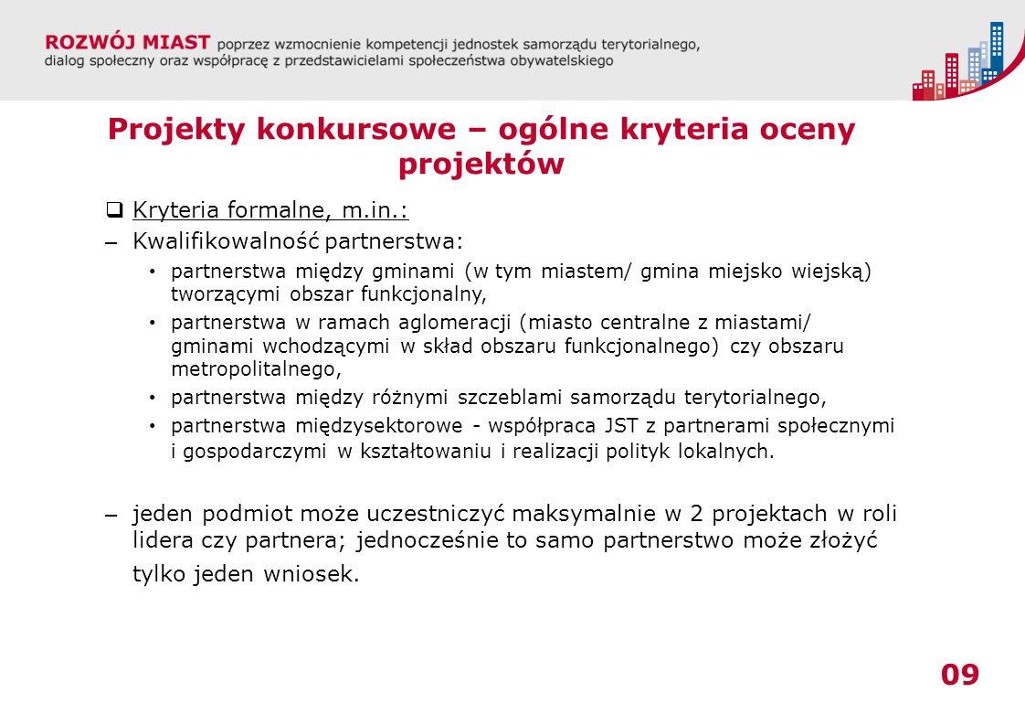 09 Projekty konkursowe – ogólne kryteria oceny projektów Kryteria formalne, m.in.: – Kwalifikowalność partnerstwa: partnerstwa między gminami (w tym miastem/ gmina miejsko wiejską) tworzącymi obszar funkcjonalny, partnerstwa w ramach aglomeracji (miasto centralne z miastami/ gminami wchodzącymi w skład obszaru funkcjonalnego) czy obszaru metropolitalnego, partnerstwa między różnymi szczeblami samorządu terytorialnego, partnerstwa międzysektorowe - współpraca JST z partnerami społecznymi i gospodarczymi w kształtowaniu i realizacji polityk lokalnych.
