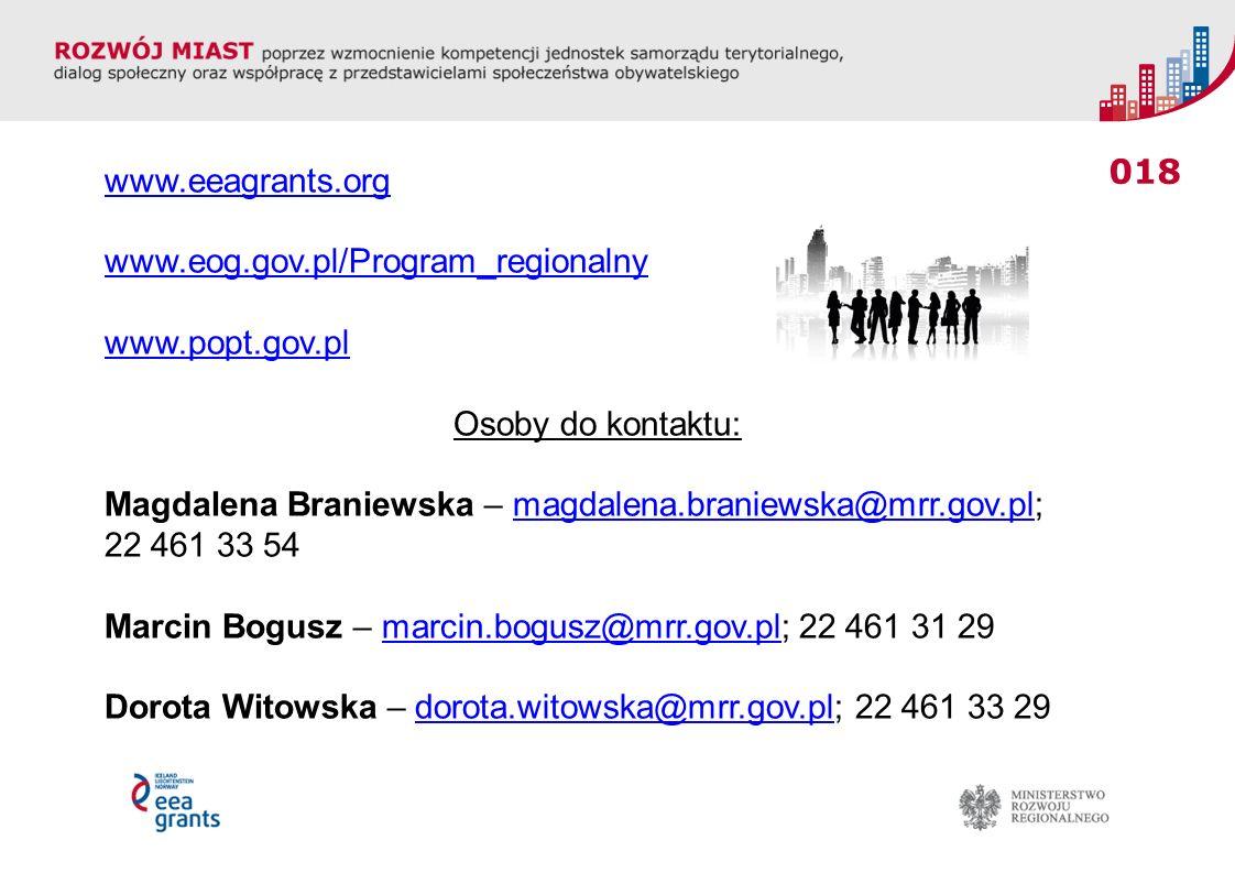 018 www.eeagrants.org www.eog.gov.pl/Program_regionalny www.popt.gov.pl Osoby do kontaktu: Magdalena Braniewska – magdalena.braniewska@mrr.gov.pl;magd
