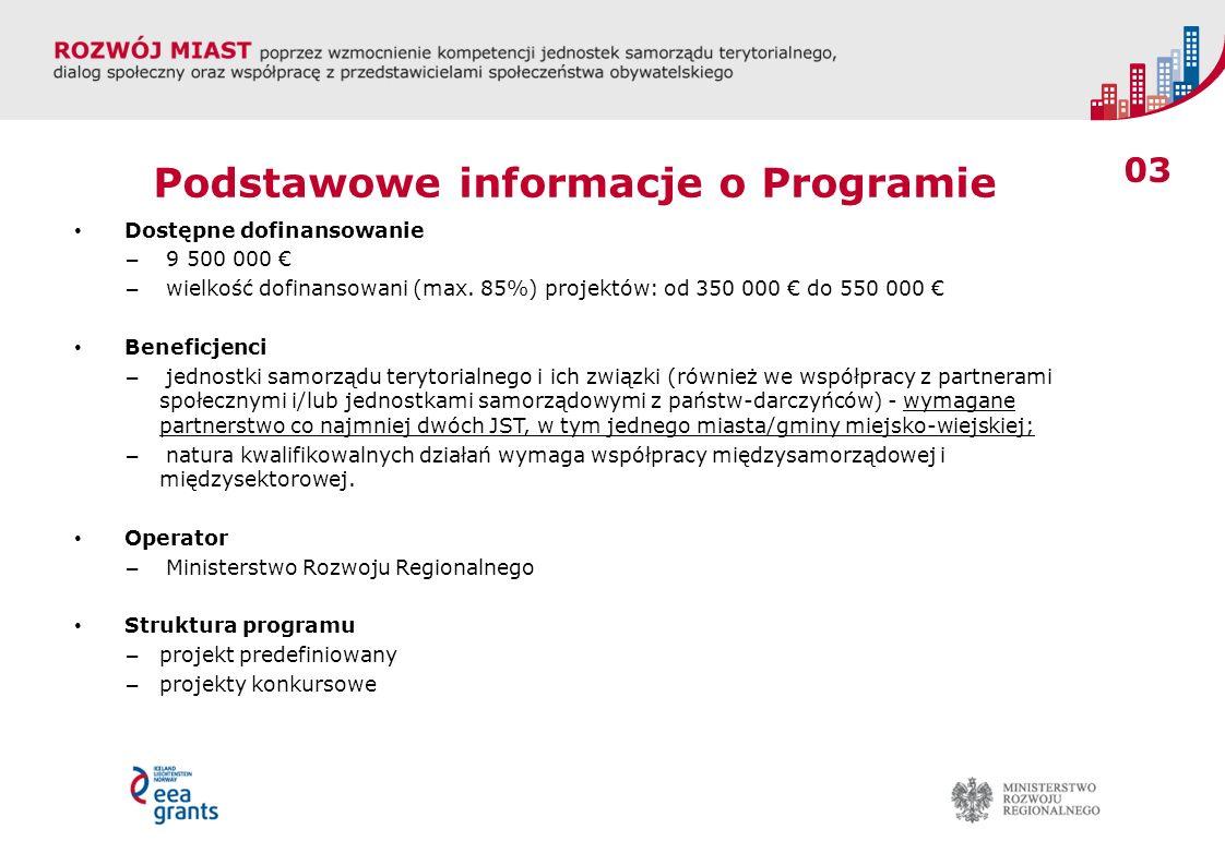 03 Podstawowe informacje o Programie Dostępne dofinansowanie – 9 500 000 – wielkość dofinansowani (max. 85%) projektów: od 350 000 do 550 000 Beneficj