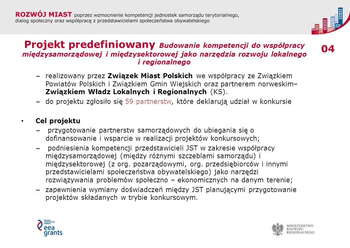04 Projekt predefiniowany Budowanie kompetencji do współpracy międzysamorządowej i międzysektorowej jako narzędzia rozwoju lokalnego i regionalnego –