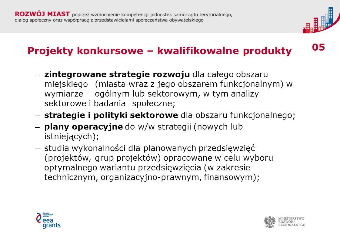 05 Projekty konkursowe – kwalifikowalne produkty – zintegrowane strategie rozwoju dla całego obszaru miejskiego (miasta wraz z jego obszarem funkcjonalnym) w wymiarze ogólnym lub sektorowym, w tym analizy sektorowe i badania społeczne; – strategie i polityki sektorowe dla obszaru funkcjonalnego; – plany operacyjne do w/w strategii (nowych lub istniejących); – studia wykonalności dla planowanych przedsięwzięć (projektów, grup projektów) opracowane w celu wyboru optymalnego wariantu przedsięwzięcia (w zakresie technicznym, organizacyjno-prawnym, finansowym);