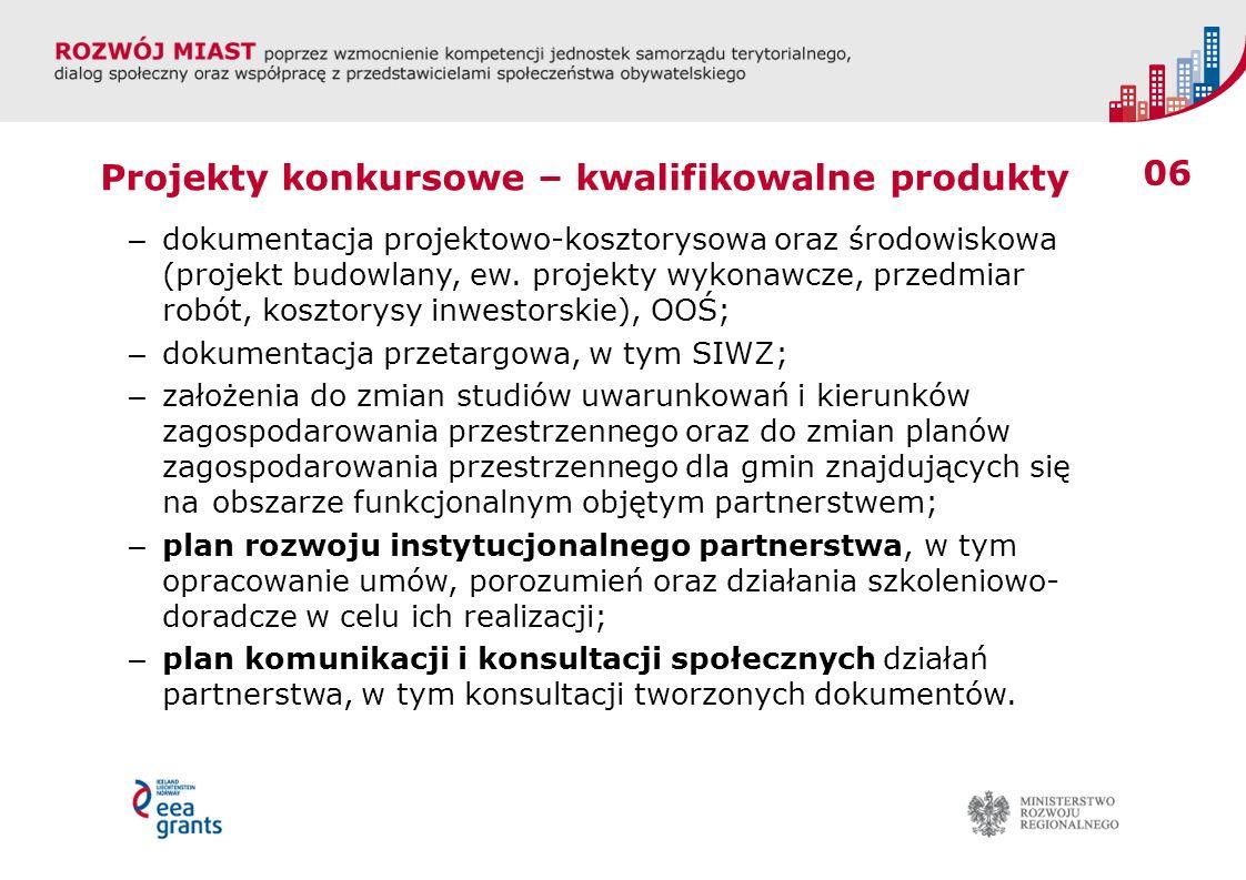 06 Projekty konkursowe – kwalifikowalne produkty – dokumentacja projektowo-kosztorysowa oraz środowiskowa (projekt budowlany, ew. projekty wykonawcze,