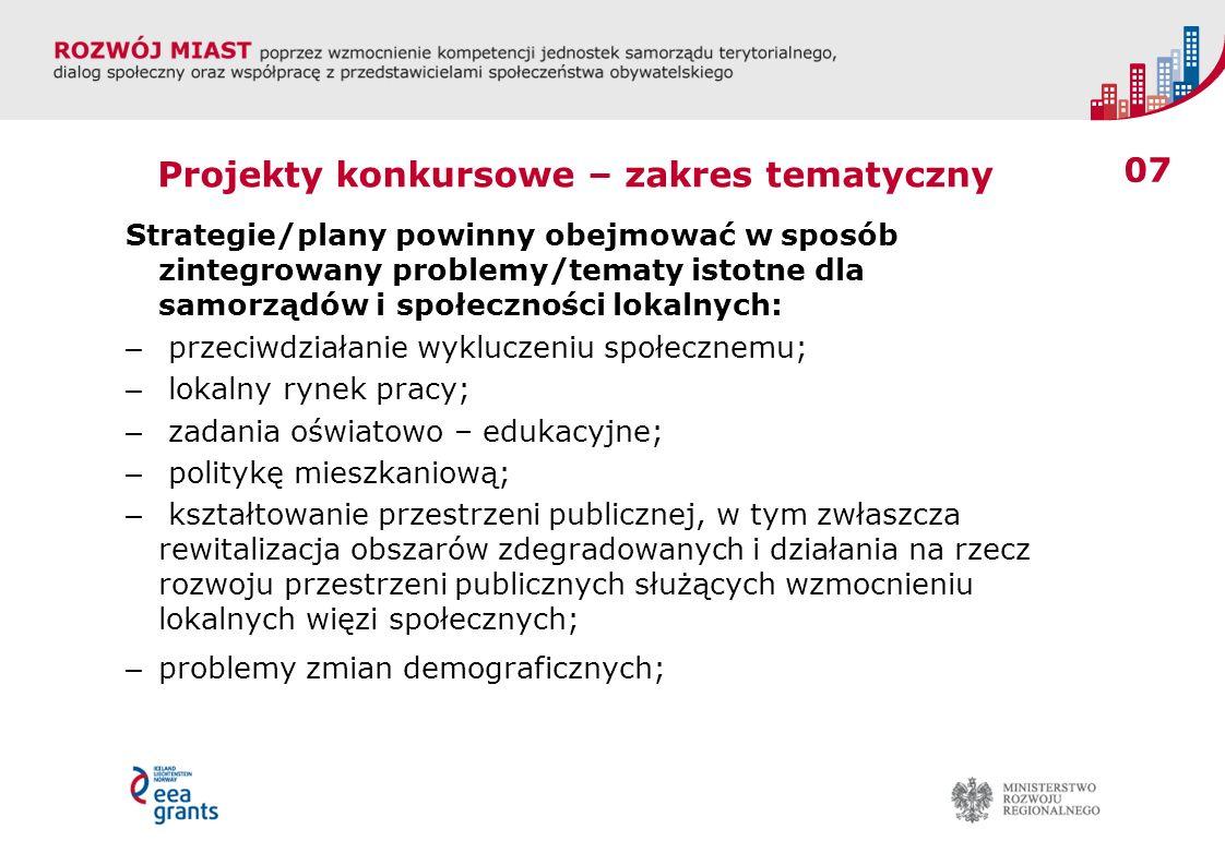 08 Projekty konkursowe – zakres tematyczny – infrastrukturę transportową – rozwój infrastruktury miejskiej zgodnie z zasadami zrównoważonego rozwoju, promocja transportu publicznego, usprawnienie multimodalnych systemów komunikacyjnych, problemy bezpieczeństwa publicznego – komunikacyjnego i innych wymiarów; – inne zagadnienia ważne dla rozwoju lokalnego danego obszaru zwłaszcza z zakresu 11 priorytetów funduszy strukturalnych UE na lata 2014-2020.