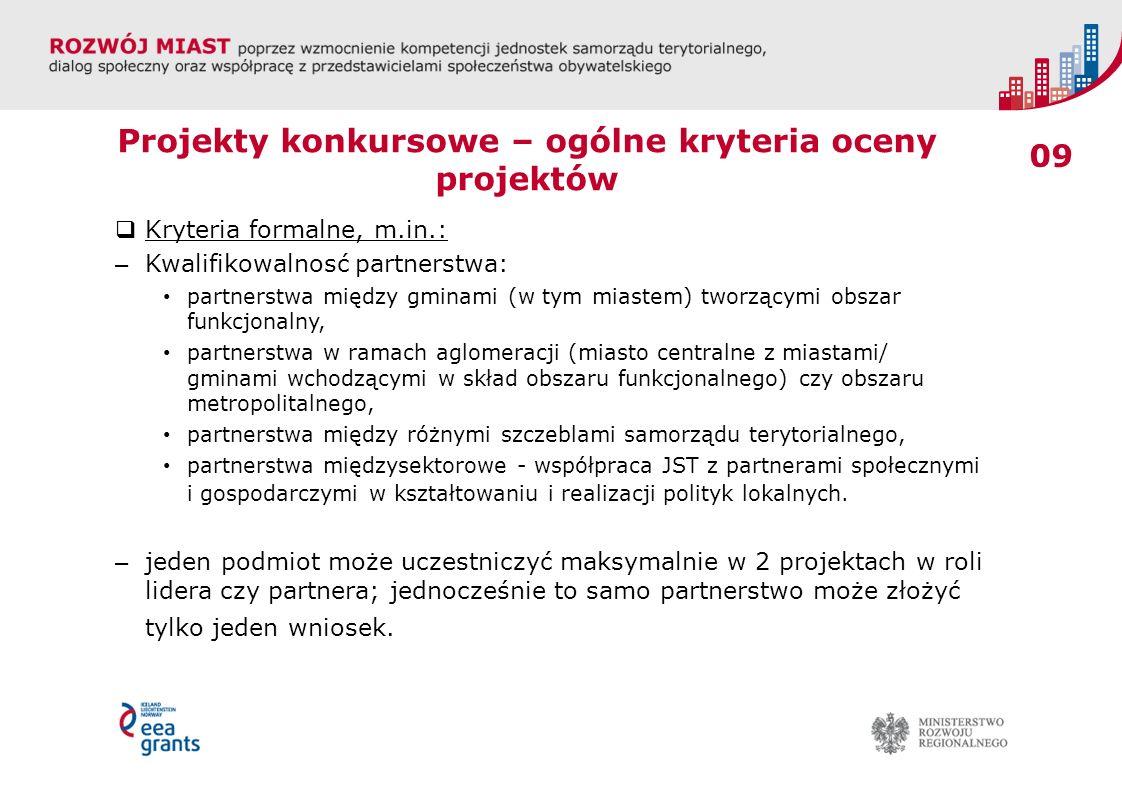 09 Projekty konkursowe – ogólne kryteria oceny projektów Kryteria formalne, m.in.: – Kwalifikowalnosć partnerstwa: partnerstwa między gminami (w tym m