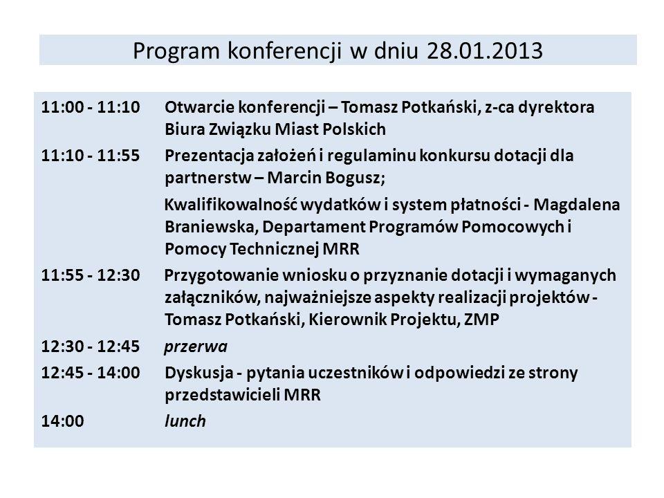 Program konferencji w dniu 28.01.2013 11:00 - 11:10Otwarcie konferencji – Tomasz Potkański, z-ca dyrektora Biura Związku Miast Polskich 11:10 - 11:55P
