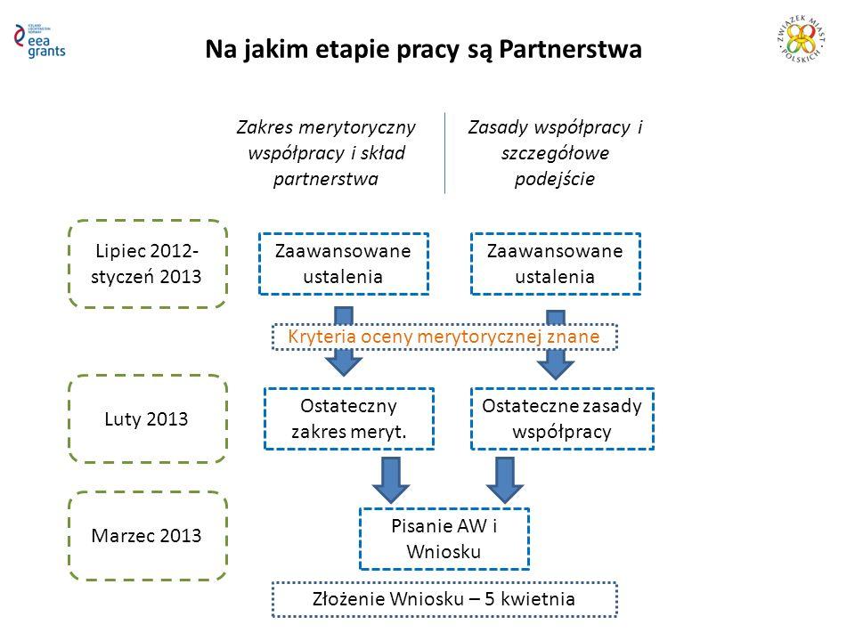 Na jakim etapie pracy są Partnerstwa Zakres merytoryczny współpracy i skład partnerstwa Zasady współpracy i szczegółowe podejście Lipiec 2012- styczeń