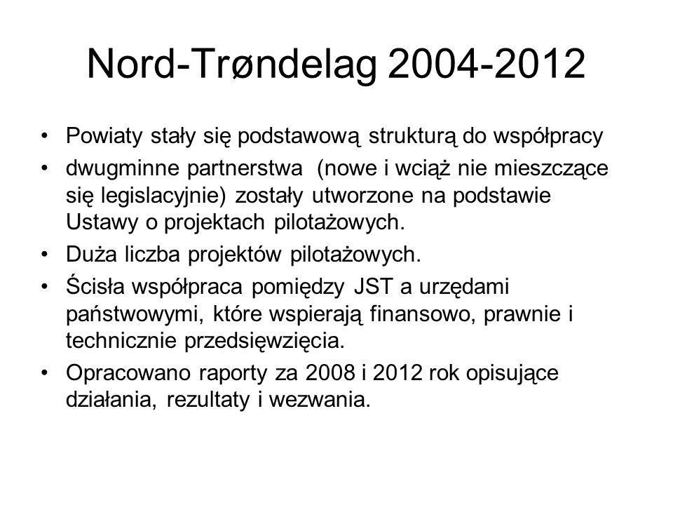 Nord-Trøndelag 2004-2012 Powiaty stały się podstawową strukturą do współpracy dwugminne partnerstwa (nowe i wciąż nie mieszczące się legislacyjnie) zostały utworzone na podstawie Ustawy o projektach pilotażowych.
