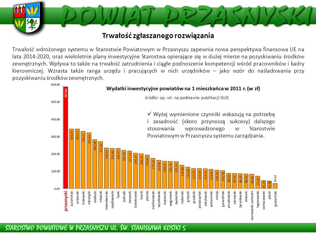 Trwałość wdrożonego systemu w Starostwie Powiatowym w Przasnyszu zapewnia nowa perspektywa finansowa UE na lata 2014-2020, oraz wieloletnie plany inwe