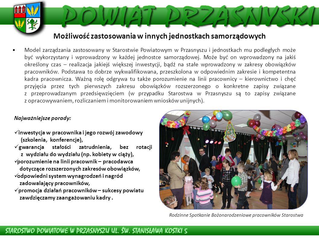 Model zarządzania zastosowany w Starostwie Powiatowym w Przasnyszu i jednostkach mu podległych może być wykorzystany i wprowadzony w każdej jednostce