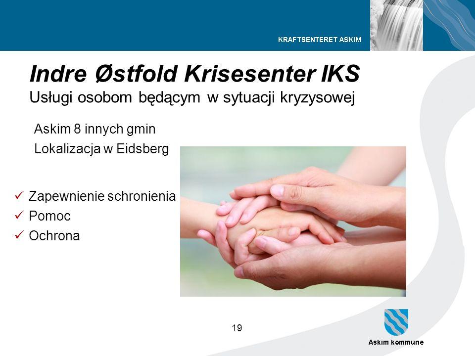 19 Indre Østfold Krisesenter IKS Usługi osobom będącym w sytuacji kryzysowej Askim 8 innych gmin Lokalizacja w Eidsberg Zapewnienie schronienia Pomoc