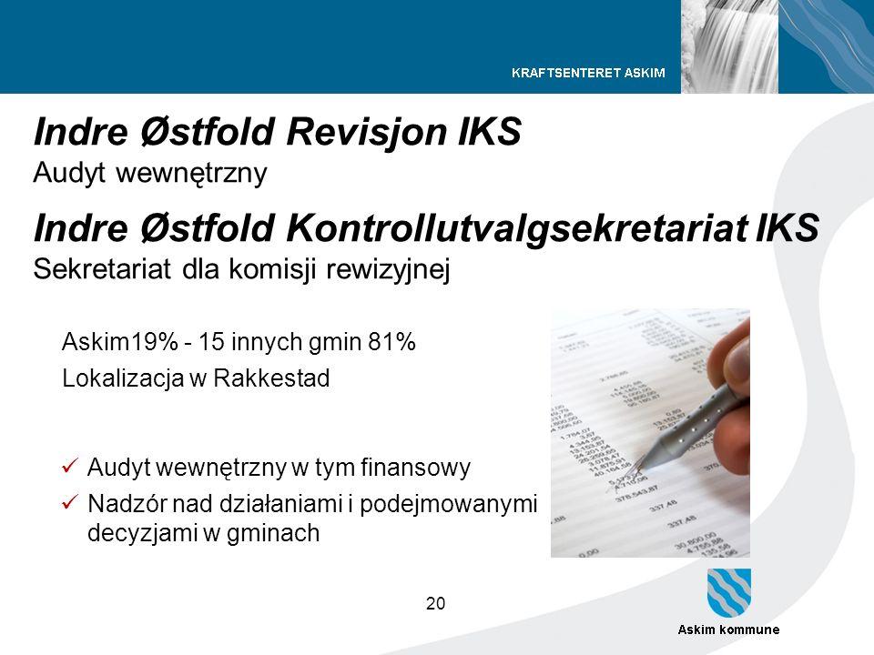 20 Indre Østfold Revisjon IKS Audyt wewnętrzny Indre Østfold Kontrollutvalgsekretariat IKS Sekretariat dla komisji rewizyjnej Askim19% - 15 innych gmi