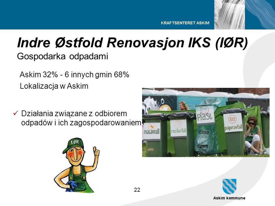 22 Indre Østfold Renovasjon IKS (IØR) Gospodarka odpadami Askim 32% - 6 innych gmin 68% Lokalizacja w Askim Działania związane z odbiorem odpadów i ic