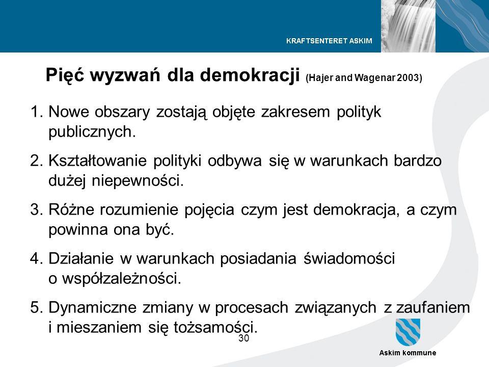 30 1.Nowe obszary zostają objęte zakresem polityk publicznych. 2.Kształtowanie polityki odbywa się w warunkach bardzo dużej niepewności. 3.Różne rozum