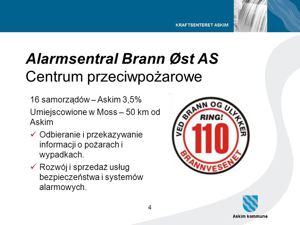 4 Alarmsentral Brann Øst AS Centrum przeciwpożarowe 16 samorządów – Askim 3,5% Umiejscowione w Moss – 50 km od Askim Odbieranie i przekazywanie inform