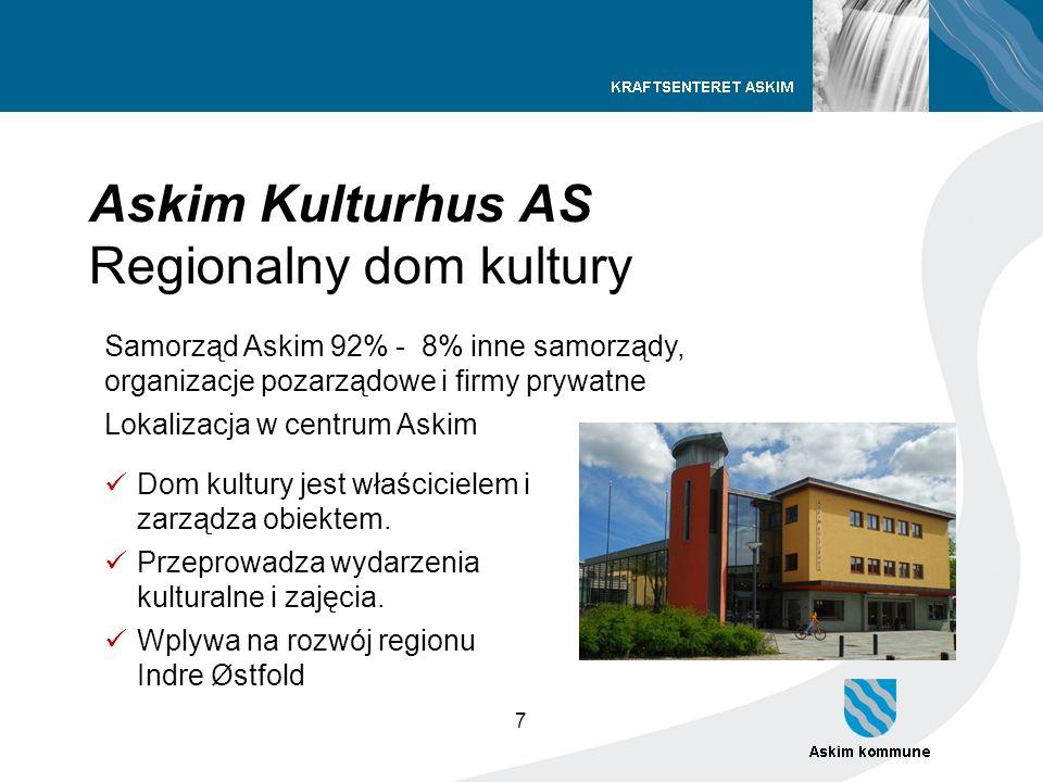 7 Askim Kulturhus AS Regionalny dom kultury Samorząd Askim 92% - 8% inne samorządy, organizacje pozarządowe i firmy prywatne Lokalizacja w centrum Ask