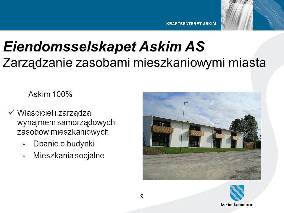 9 Eiendomsselskapet Askim AS Zarządzanie zasobami mieszkaniowymi miasta Askim 100% Właściciel i zarządza wynajmem samorządowych zasobów mieszkaniowych