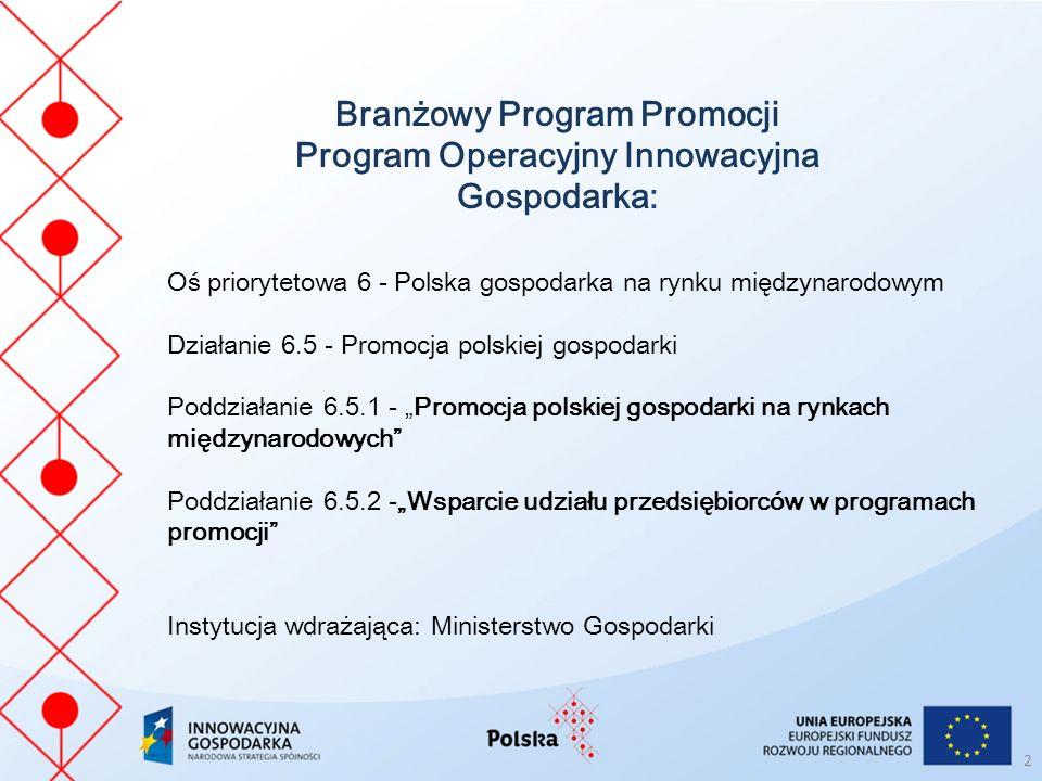 Branżowy Program Promocji Program Operacyjny Innowacyjna Gospodarka: Oś priorytetowa 6 - Polska gospodarka na rynku międzynarodowym Działanie 6.5 - Pr