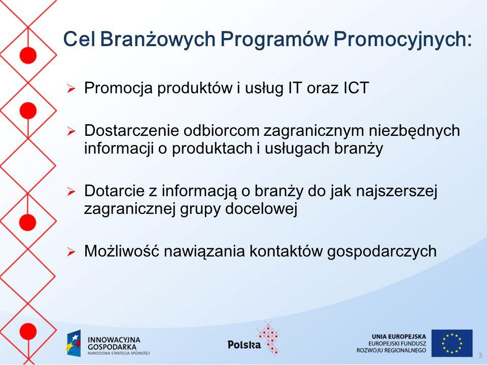 Cel Branżowych Programów Promocyjnych: Promocja produktów i usług IT oraz ICT Dostarczenie odbiorcom zagranicznym niezbędnych informacji o produktach